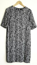COS LADIES BLACK/WHITE GEOMETRIC DESIGN DRESS SIZE 38 UK 10