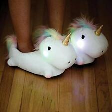 NEW Cute Smoko Unicorn Light Up Plush Slippers Women