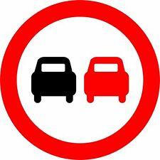 Sticker / Decal No overtaking Road safety sign 60x60cm KP981