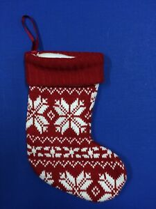 Christmas Stocking Knitted Red White Snowflakes 12.5""