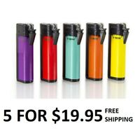 "FIVE ""Roll-n-Go""Cigarette PRE-ROLLED STASH Safe Can Lighters- one of each color"