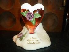 2003 Blue Sky Heather Goldminc Pink Glass Heart Red Rose Christmas Love Candle