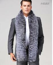 100% Real Silver Fox Fur Shawl Outwear Men's Scarves Fur Scarves Collar-180x15cm