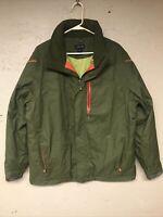 Lands End Insulated Winter Ski Coat Jacket. Green Men's L 42-44 Hidden Hood Vguc