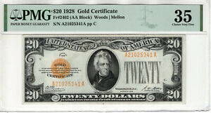 1928 $20 GOLD CERTIFICATE NOTE FR.2402 AA BLOCK PMG CHOICE VERY FINE VF 35(341A)