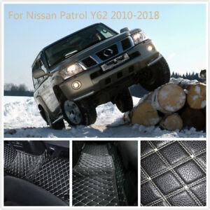 Car Interior Leather Floor Mats Carpets 1 Set  For Nissan Patrol Y62 2010-2020