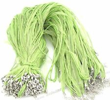 10x 130026 Wholesale Green Silk Ribbon & Waxed Cord Necklace Findings 46cm