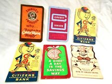 5-Vintage Bank Promotional Give-Aways .25 & .10 Change Savers