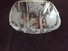 Vintage Crystal Clear Studios Narcissus (Daffodil) Square Bowl Frosted Flowers