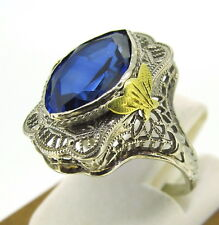 2.5 ct Sapphire Man Made Antique 14k White/Yellow Gold Estate Ring Size 4.25