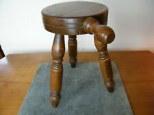 Antique Grandpas Milking Stool Footstool Pot Holder Tri Leg Wood Signed 1916