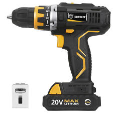 "DEKO 20V 1.5AH MAX Li-Ion 1/2"" Cordless Hammer 2-Speed Drill Driver Power Tool"