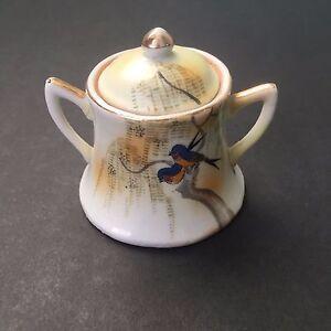 Antique Nippon Porcelain Birds Swallow Lidded Sugar Bowl Hand Painted Miniature