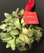 Christmas Unlit Red Berry Artificial Kissing Ball Green Leaves Red Berries NWT