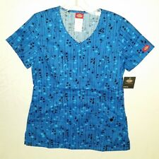 Dickies Womens V Neck Blue & Black Kersplat! Print Scrub Top Size S