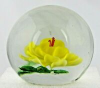 Vintage Art Glass Handmade Paperweight With Yellow Flower & Green Leaves 70's