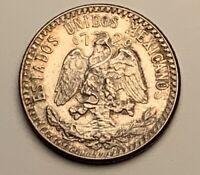 1950 MEXICO SILVER 25 CENTAVOS BU UNC COLOR TONED COIN