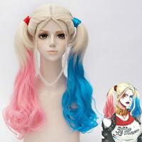 Halloween Batman DC Comics Suicide Squad Harley Quinn Cosplay Wig Ponytail New
