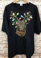 Christmas shirt mens 3XL hunter reindeer ugly tshirt new black tshirt lights J7