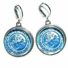 BLUE WILLOW PLATE EARRINGS Silver Pltd Dangle Drop  Vintage Plate Image