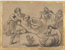 dessin ancien 19e plume lavis signé A. Fedel