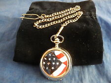 AMERICAN FLAG CHROME POCKET WATCH WITH CHAIN (NEW)