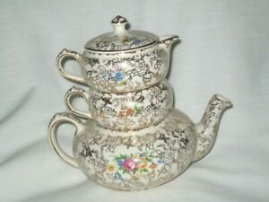 Lord Nelson Ware England ~ Floral Spray on Gold Chintz ~ Stacking Teapot Set
