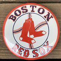 "VTG Boston Red Sox Baseball Pin-Back Button 3-3/8"" F/S"