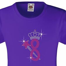 """Girl's Birthday TShirt """"8 with crown & wand"""" Rhinestone Embellished-Many Colours"""