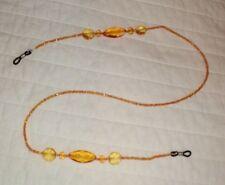 New Faux Amber Beaded Eyeglass Chain Lanyard Artisan Orange Sun Reading Sparkle
