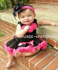 Baby Hot Pink Black Pettiskirt Black Top Rose Set 3-12M