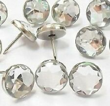 10pk Diamante,Diamond Look,Clear Upholstery Headboard Bed Buttons/Nails