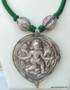 ETHNIC TRIBAL OLD SILVER NECKLACE PENDANT AMULET SHIVA