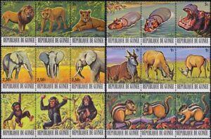 Guinea 1977 Animals/Hippo/Lion/Elephant/Deer/Chimpanzee 18v set  6 x strips b765