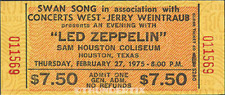1 Led Zeppelin Vintage Unused Full Concert Ticket 1975 Houston, Texas Laminated