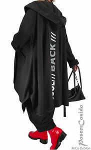 PoCo LAGENLOOK Kapuzen-Jacke Print-Design schwarz XL-XXL 46 48 50 52 54 56 58