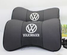 2x Black Auto Car Seat 100% Cowhide Neck Rest Belt Headrest Pads Protect for NEW
