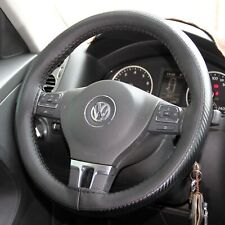 Stitch On Style Steering Wheel Skin Wrap Cover Black & Carbon Fiber Perfect Fit