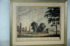 Antique Yale College University Connecticut State House New Haven Lithograph '80