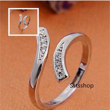 Vintage Crystal Rhinestone Silver Rings Open/Adjustable