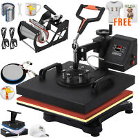 """6 in 1 Heat Press Machine Transfer 15""""x15"""" Sublimation Hat Plate Combo Kit"""