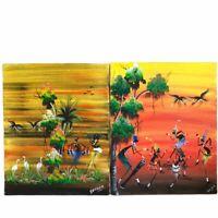 Caribbean Folk Art Painting Pair Dancers Street Art 8x10 Vtg Mid Century Framed