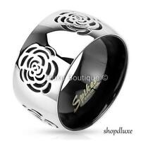Women's Stainless Steel 316L Rose Flower 11mm Wide Band Fashion Ring Size 5-11