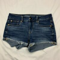 American Eagle Women's Size 4 Super Stretch Shortie Cuffed Frayed Jean Shorts