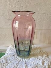 Vintage Hand Blown Glass Vase Green into Cranberry Shaded Heavy