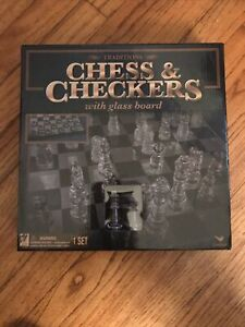 Cardinal Traditions Chess & Checkers Set With Glass Board New Sealed Box
