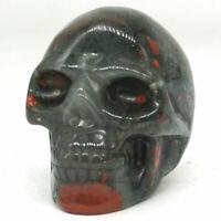 "Skull Figurine Natural Gemstone 2"" Blood Stone Carved Crystal Healing Decor 3073"