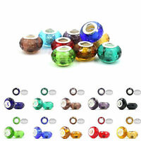 Lots Round Glass Murano Big Hole Lampwork Beads Fit European Charm Bracelet DIY