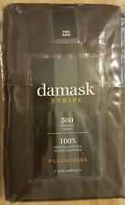 DAMASK STRIPE  2 COUNT KING PILLOWCASES - COLOR BROWN - 100% EGYPTIAN COTTON