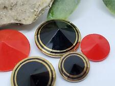 Striking Red & Black Gold Pointed Cone Glass Buttons From West Germany Excellent